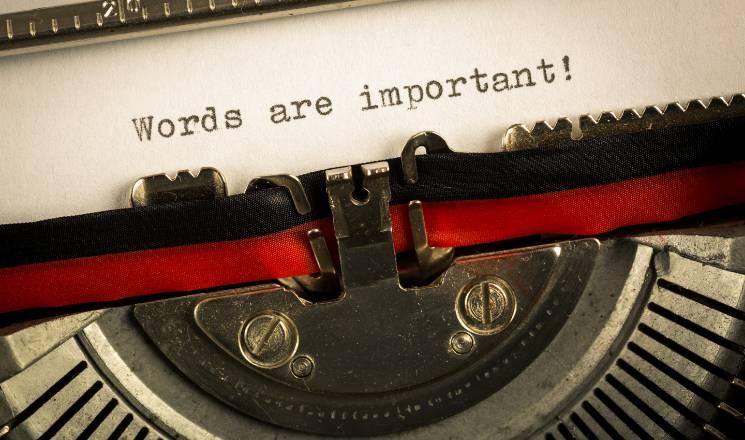rédaction web - machine à écrire avec phrase words are important