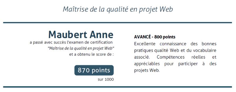 certification anne maubert rédaction web 870 points